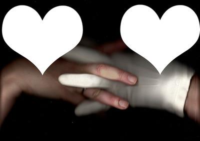 Deux mains enlacées deux photos