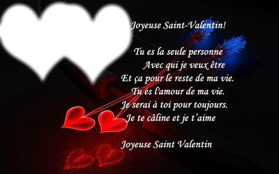 Montaje Fotografico Poème St Valentin Avec 2 Coeurs Pixiz