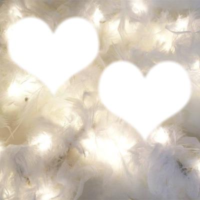 deux coeurs sur fond de plumes