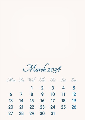 March 2034 // 2019 to 2046 // VIP Calendar // Basic Color // English