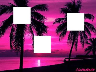 Plage et palmiers violets