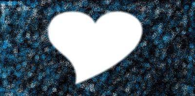 Coeur sur fond noir a paillette bleu