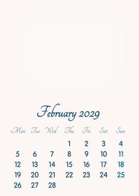 February 2029 // 2019 to 2046 // VIP Calendar // Basic Color // English