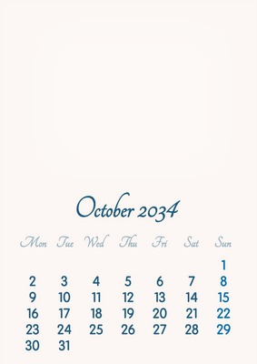 October 2034 // 2019 to 2046 // VIP Calendar // Basic Color // English
