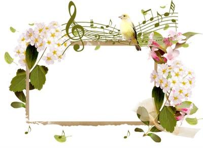 Cadre - musique - oiseau - fleurs