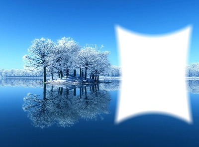 Paysage bleu et blanc