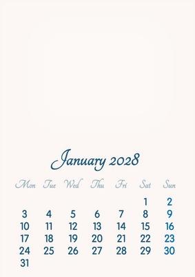 January 2028 // 2019 to 2046 // VIP Calendar // Basic Color // English
