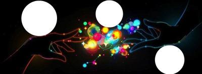 deux mains avec des bulles multicolores 3 photos