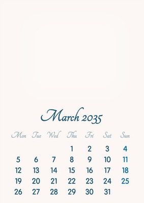 March 2035 // 2019 to 2046 // VIP Calendar // Basic Color // English