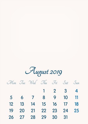 August 2019 // 2019 to 2046 // VIP Calendar // Basic Color // English