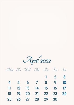 Calendar 2022 April.Photo Montage April 2022 2019 To 2046 Vip Calendar Basic Color English Pixiz