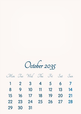 October 2035 // 2019 to 2046 // VIP Calendar // Basic Color // English