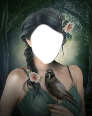 fille à l'oiseau