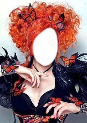 Cc rostro de dama con mariposas