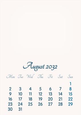 August 2032 // 2019 to 2046 // VIP Calendar // Basic Color // English