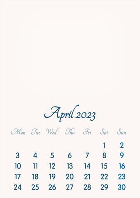 April 2023 // 2019 to 2046 // VIP Calendar // Basic Color // English