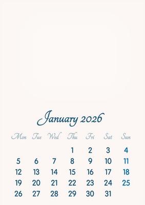 January 2026 // 2019 to 2046 // VIP Calendar // Basic Color // English