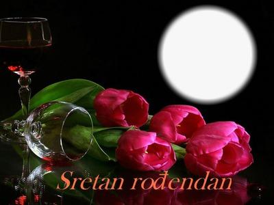 Photo montage Rođendan ruže i vino 2   Pixiz