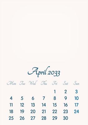 April 2033 // 2019 to 2046 // VIP Calendar // Basic Color // English