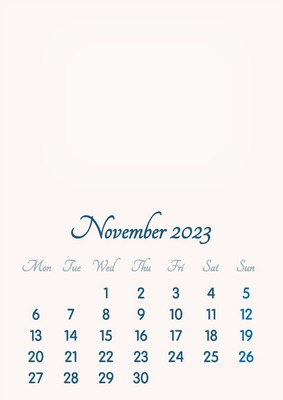 November 2023 // 2019 to 2046 // VIP Calendar // Basic Color // English