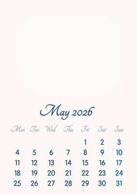 May 2026 // 2019 to 2046 // VIP Calendar // Basic Color // English