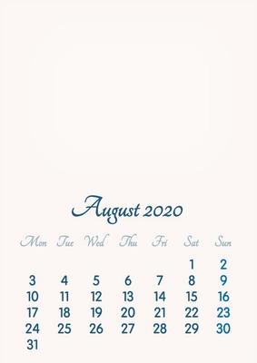 August 2020 // 2019 to 2046 // VIP Calendar // Basic Color // English