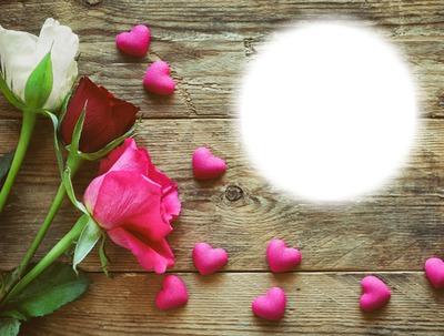 Roses-coeurs-fond de bois