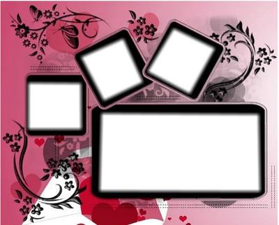 cadre rose 4 photo pêle-mèle