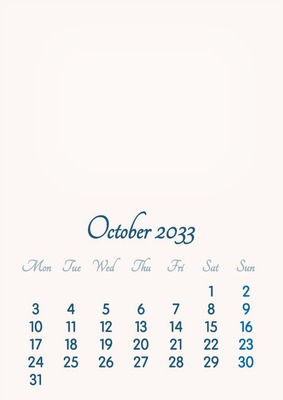October 2033 // 2019 to 2046 // VIP Calendar // Basic Color // English