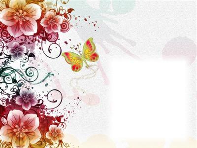 Fleurs multicolores-papillon