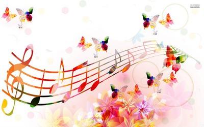 notes de musique accompagné de papillons 2 photos