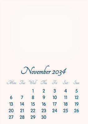 November 2034 // 2019 to 2046 // VIP Calendar // Basic Color // English