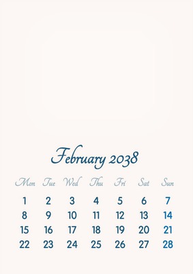 February 2038 // 2019 to 2046 // VIP Calendar // Basic Color // English