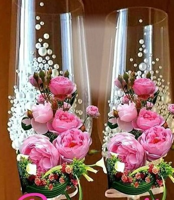 2 copas rosas y foto