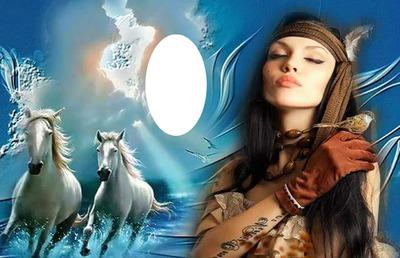 paarden met indiaan