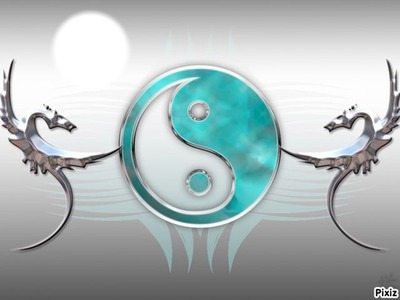 Ying Yang bleu argent