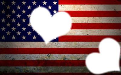 Drapeau américain two coeur
