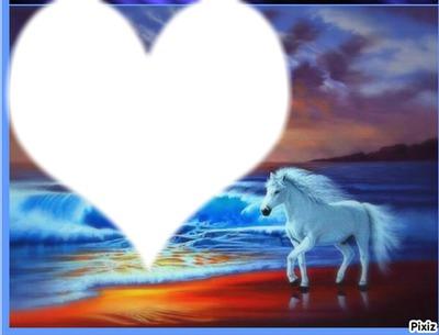 toi avec un cheval au bord de mer avec coucher de soleil