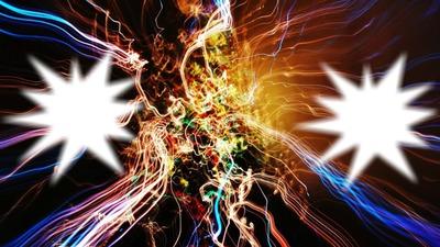 2 cadres photos multicolores
