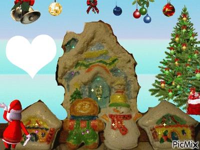 Village de Noel peint par Gino Gibilaro avec coeur et deco de picmix