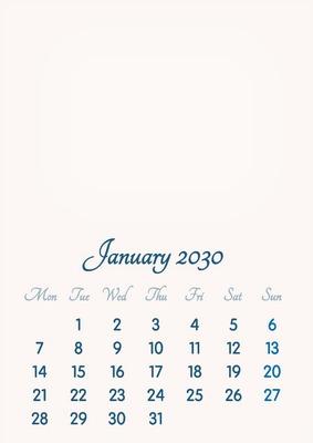 January 2030 // 2019 to 2046 // VIP Calendar // Basic Color // English