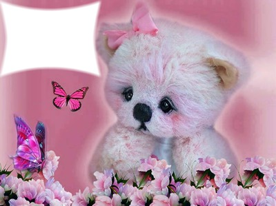 cadre rose fille nounours