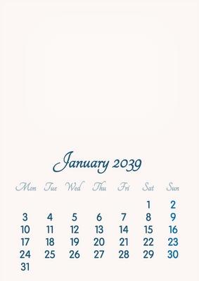 January 2039 // 2019 to 2046 // VIP Calendar // Basic Color // English