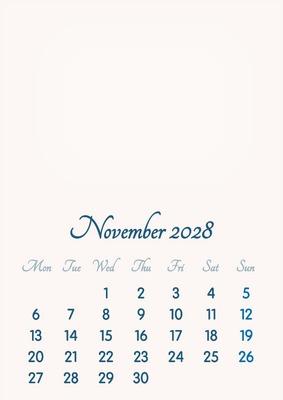 November 2028 // 2019 to 2046 // VIP Calendar // Basic Color // English