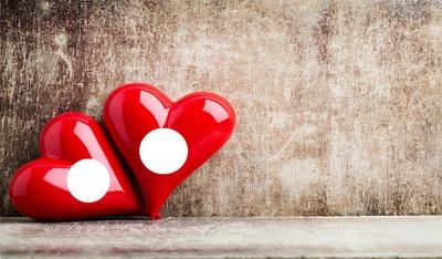 Jour De Valentin Deux Coeurs Rouges
