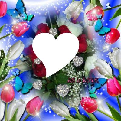 tulipes papillons et coeurs 1 photo