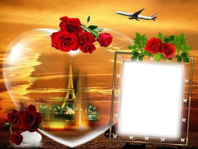 Cadre-avion-tour Eiffel-roses rouges