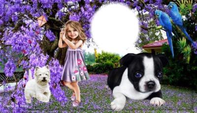 puppys an lil girl