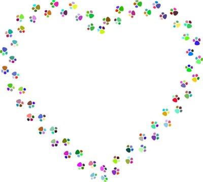 empreintes de pattes multicolores en forme de coeur 1 photo