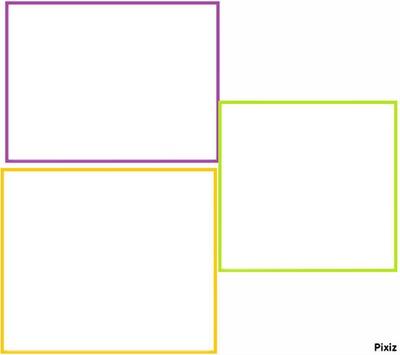3 cadres violet, vert et jaune.